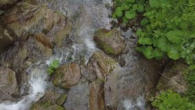 Topview of water moveing down at small waterfall stock photo
