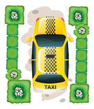 A topview of a yellow taxi Royalty Free Stock Images