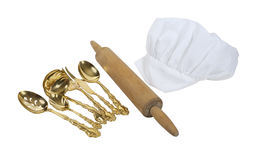 Toque Blanche with a Rolling Pin and Goldware Stock Image