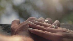 Toque bonito das mãos Mãos de pares do casamento com alianças de casamento nos dedos A noiva afaga a mão do bridegrooms' Mulher vídeos de arquivo