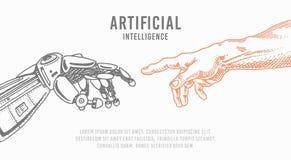 Toque da mão Android e humano Bandeira da inteligência artificial Cartaz biônico do braço Tecnologia futura Vintage gravado ilustração royalty free