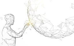 Toque do homem global das linhas, dos tri?ngulos e do projeto do estilo da part?cula ilustração stock