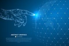 Toque no futuro, na ilustração de um sentido da ciência e na tecnologia ilustração do vetor
