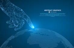 Toque no futuro, na ilustração do vetor de um sentido da ciência e na tecnologia ilustração do vetor