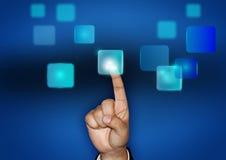 Toque un botón de la pantalla virtual Imágenes de archivo libres de regalías