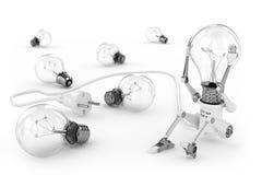 Torção da lâmpada do robô uma cabeça do bulbo ilustração do vetor