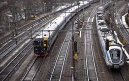torów szynowy pociągi Obraz Royalty Free