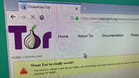 Tor browser. Saransk, Russia - November 27, 2018: A computer screen shows details of Tor project, download page on its web sites stock video