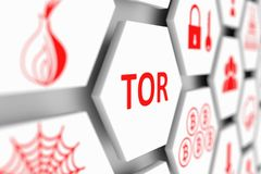 TOR concept. Cell blurred background 3d illustration Royalty Free Stock Photo