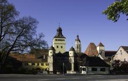 Tor de Ellinger o en Baviera Alemania de Weissenburg fotografía de archivo