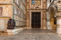 The entrance of the doge`s palace. In Venice / Italy royalty free stock images