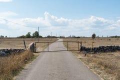 Tor durch eine Landstraße in einem Trockenrasen lizenzfreie stockfotos