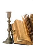 Torah. Ancient torah and candlestick over white background royalty free stock images