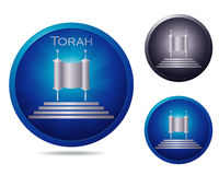 Torah icon set. Set of three icons with ancient Torah Stock Photo