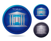 Torah icon set. Set of three icons with ancient building and Torah Royalty Free Stock Photo