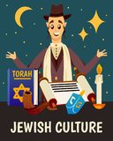 Torah Jewish Culture Background. Cartoon jews characters composition background with flat images of jewish human character torah book candle and symbols vector Stock Photos