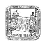 Torah-Judentum Kabbalah-Religions-Ikonenvektor Lizenzfreie Stockfotos