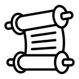 Torah papyrus icon, outline style royalty free illustration
