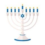 Torah or Pentateuch vector illustration. Holiday of Hanukkah element. Jewish symbol for celebration of Chanukah or Festival of Li. Menorah 9 candle candelabrum royalty free illustration