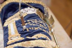 Torah scroll book close up. Detail Stock Photo