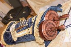 Torah scroll book close up. Detail Royalty Free Stock Photos