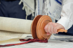 Torah scroll with a mans hand Royalty Free Stock Photo