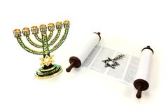 Torah scroll with menorah and Star of David Royalty Free Stock Image