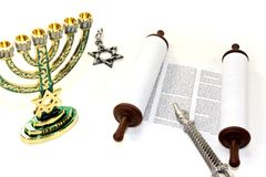 Torah scroll with menorah, Star of David and pointer Stock Photography