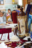 Torah scrolls. In synagogue on jewish holiday Stock Image
