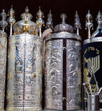 Torah scrolls in the synagogue. Sefer torah in the synagogue royalty free stock photography