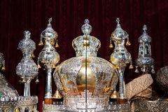 Torah scrolls in the synagogue. Sefer torah in the synagogue royalty free stock photo