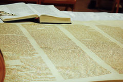 Torah scrolls. Is on the table, the back is open Bible, with a silver hands, photo, very close to photographic Stock Photo