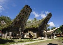 Toraja village. With traditional houses in a row, Toraja, Sulawesi, Indonesia Stock Photos