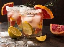 A toranja e os alecrins descaroçam o cocktail ou o margarita, refrescando a bebida com gelo fotografia de stock royalty free
