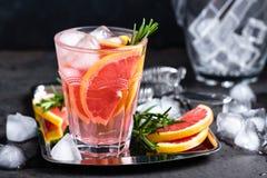 A toranja e os alecrins frescos descaroçam o cocktail com suco, bebida de refrescamento ou bebida do citrino frio do verão com ge Foto de Stock Royalty Free