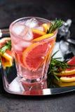 A toranja e os alecrins frescos descaroçam o cocktail com suco, bebida de refrescamento ou bebida do citrino frio do verão com ge Foto de Stock