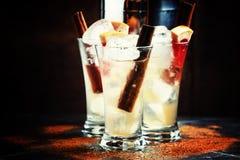 Toranja picante do cocktail alcoólico com canela, gelo, ju do limão fotos de stock royalty free