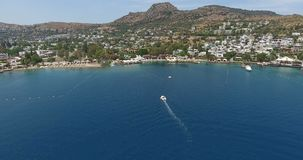 Torba Bay and Anchored Yachts Bodrum Turkey. 4096x2160 stock video