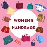 Torba dla kobiet ustawiać Kolekcja torebka ilustracja wektor