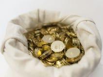 Torba monety na białym tle Zdjęcie Royalty Free