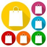 Torba na zakupy ikony ustawiać z długim cieniem ilustracja wektor