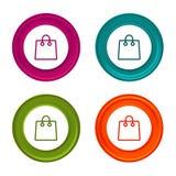 Torba na zakupy kreskowa ikona Online kupienie symbol Kolorowy sieć guzik z ikoną ilustracja wektor