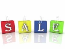 Torba na zakupy w różnorodnych kolorach z wpisową sprzedażą na bielu Obrazy Royalty Free