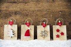 Torba Na Zakupy Z Bożenarodzeniową dekoracją, płatki śniegu Obrazy Royalty Free