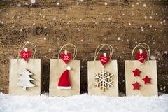 Torba Na Zakupy Z Bożenarodzeniową dekoracją, płatki śniegu, Santa kapelusz Obraz Stock