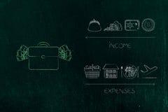 Torba pieniądze obok dochód ikon z gotówkowym safebox ve i kiesą Obrazy Royalty Free
