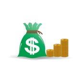 Torba pieniądze z Złotymi monetami Ilustracyjnymi royalty ilustracja