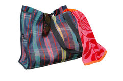 torba plażowi okulary przeciwsłoneczne ręcznik Obraz Royalty Free