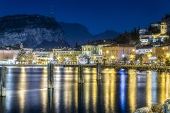 Torbole by night merry Christmas stock images