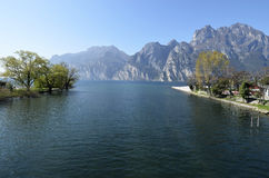 Torbole mouth of the River Sarca in Lake Garda Stock Images